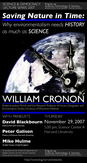 William Cronon event poster